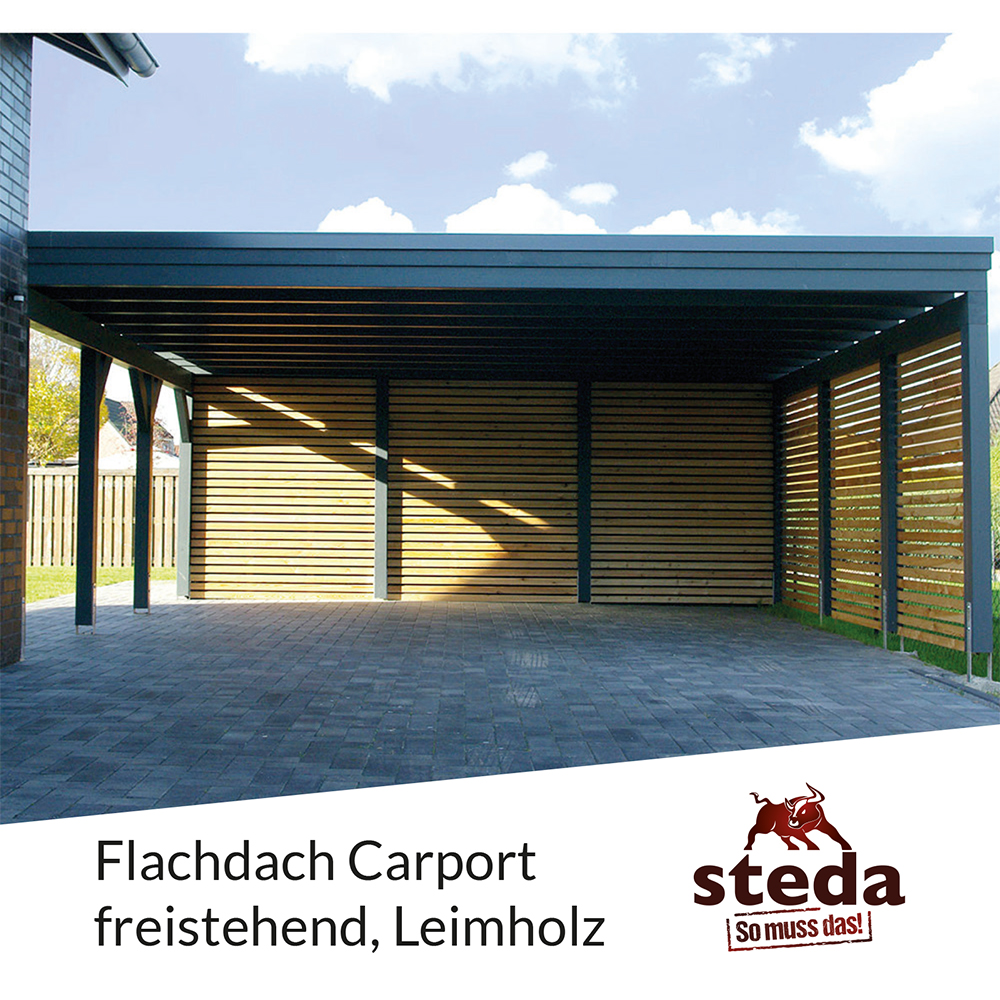 carport flachdach leimholz holz 8x8 m 800x800 cm steda ebay. Black Bedroom Furniture Sets. Home Design Ideas