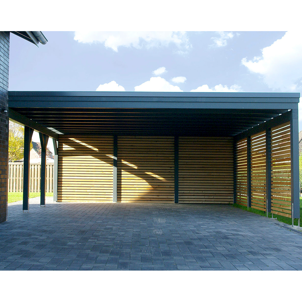 Carport Wandanbau: Carport, Flachdach, Leimholz, Holz, 8x7 M, 800x700 Cm
