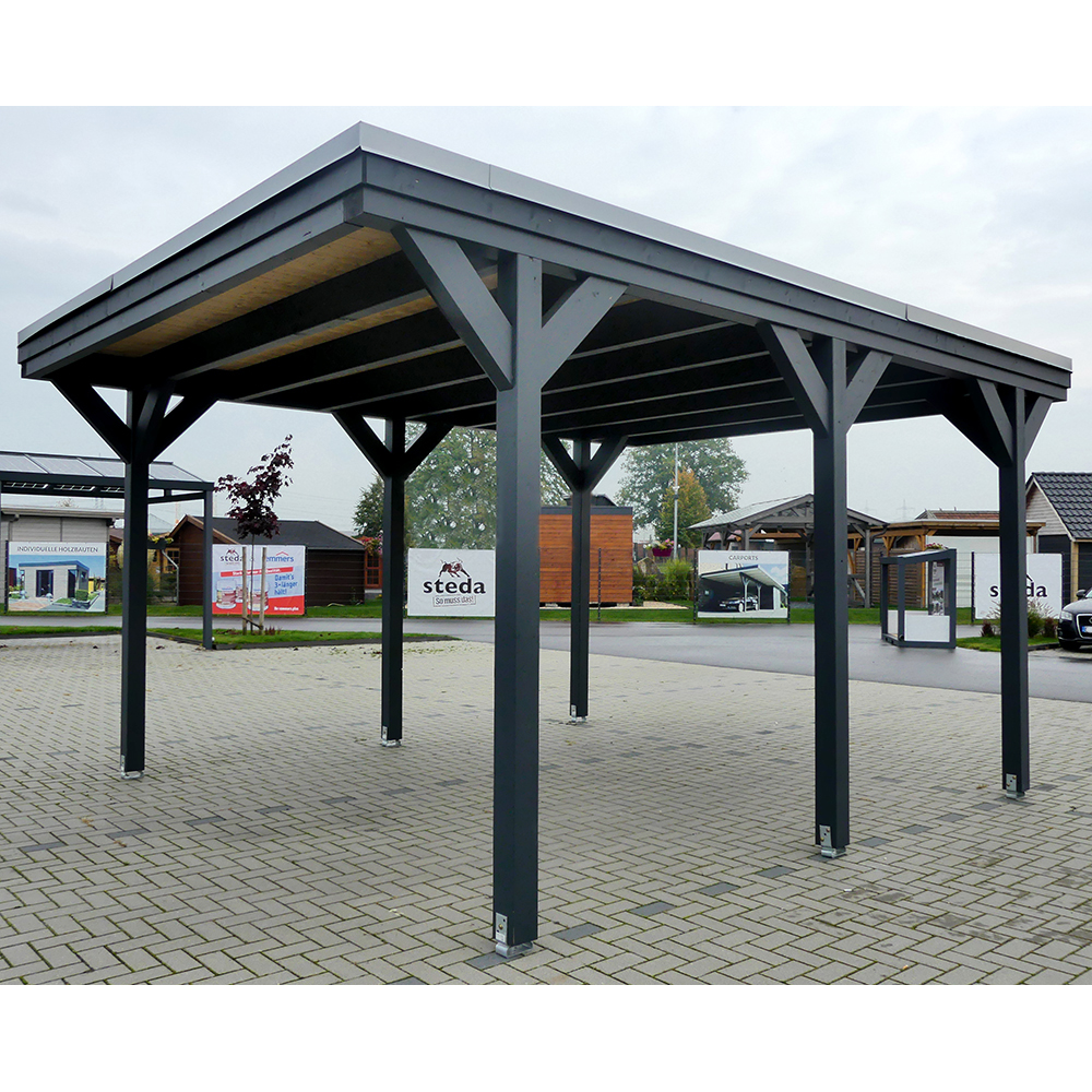 carport flachdach leimholz holz 5x5 m 500x500 cm freistehend steda ebay. Black Bedroom Furniture Sets. Home Design Ideas