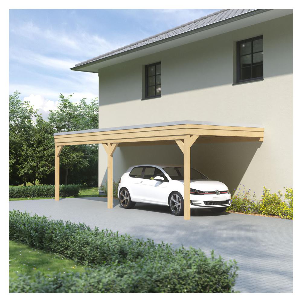 Carport Wandanbau: Carport, Flachdach, Leimholz, Holz, 4x5 M, 400x500 Cm