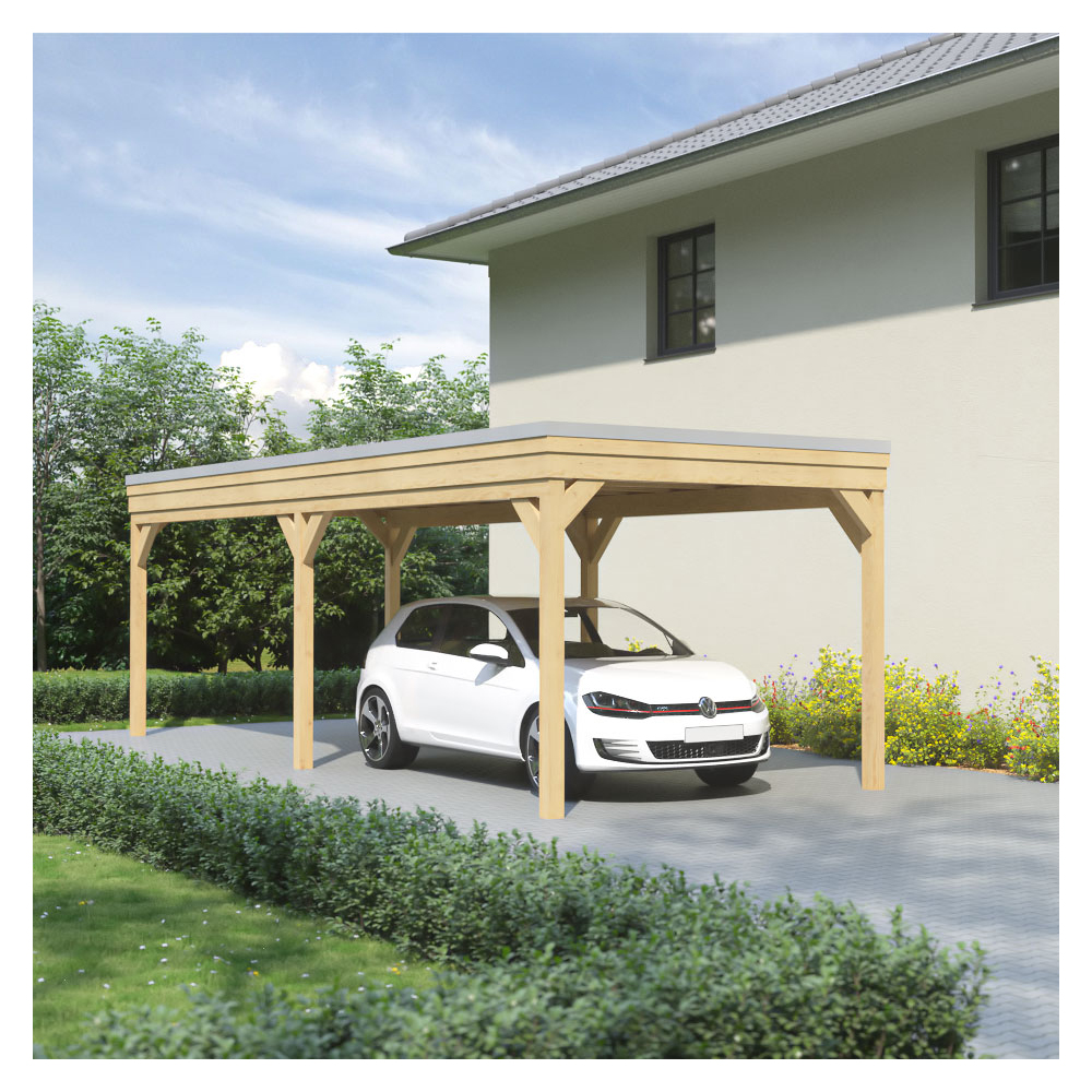 carport flachdach leimholz holz 3x8 m 300x800 cm freistehend steda ebay. Black Bedroom Furniture Sets. Home Design Ideas