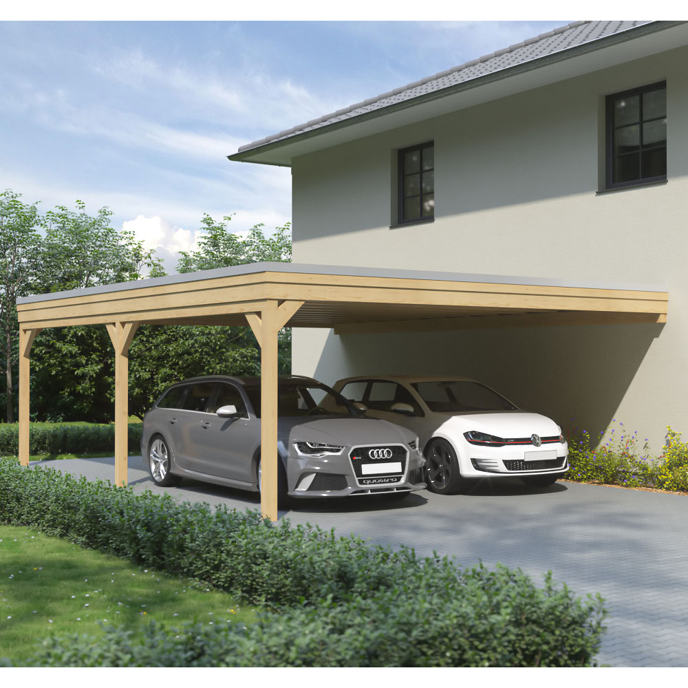 carport flachdach leimholz holz 6x8 m 600x800 cm freistehend steda ebay. Black Bedroom Furniture Sets. Home Design Ideas
