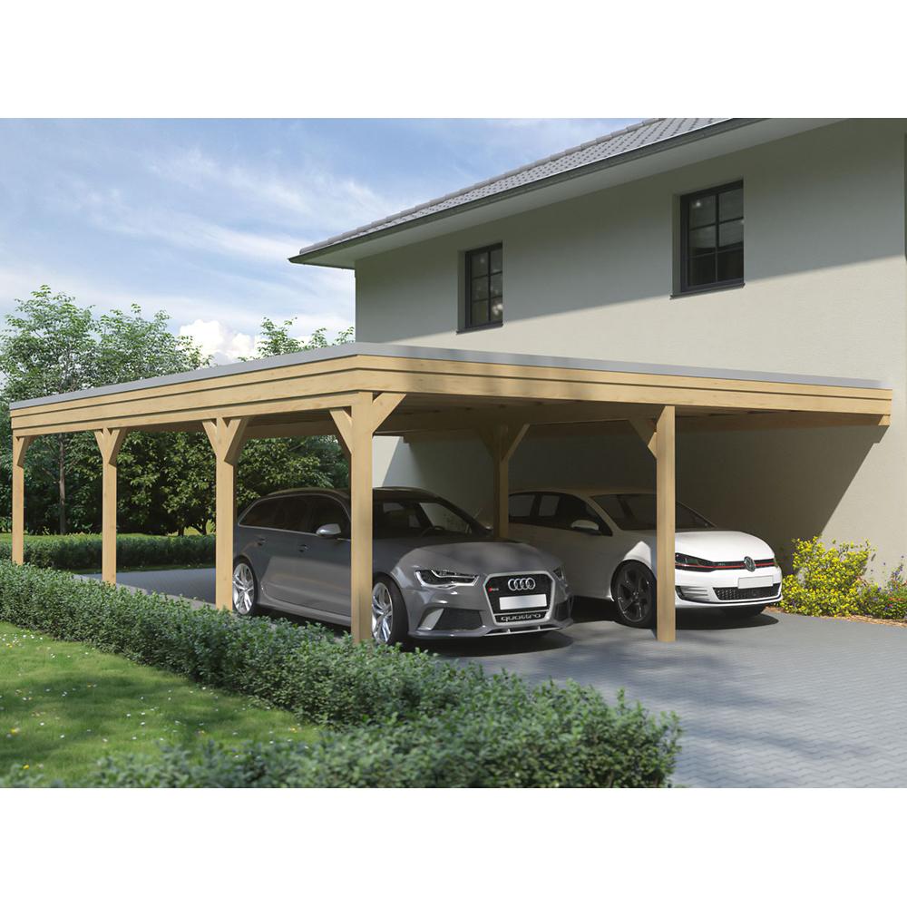 Carport flachdach leimholz holz 8x10 m 800x1000 cm steda ebay - Carport wandanbau ...