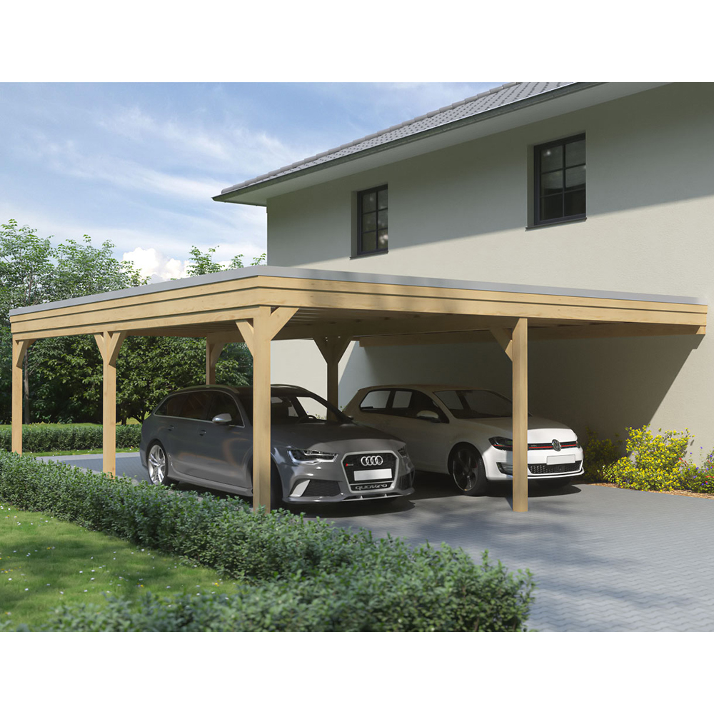 Luxus Carport: Carport, Flachdach, Leimholz, Holz, 7x8 M, 700x800 Cm