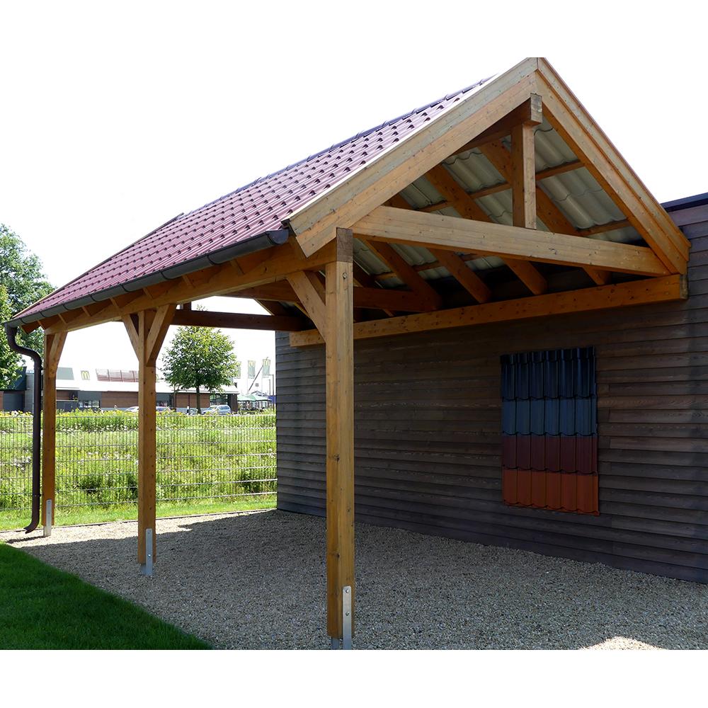 Carport Wandanbau: Carport, Satteldach, Leimholz, Holz, 4x5 M, 400x500 Cm
