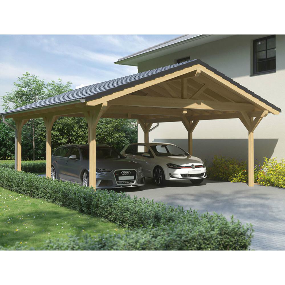 Carport satteldach leimholz holz 6x7 m 600x700 cm for Carports online
