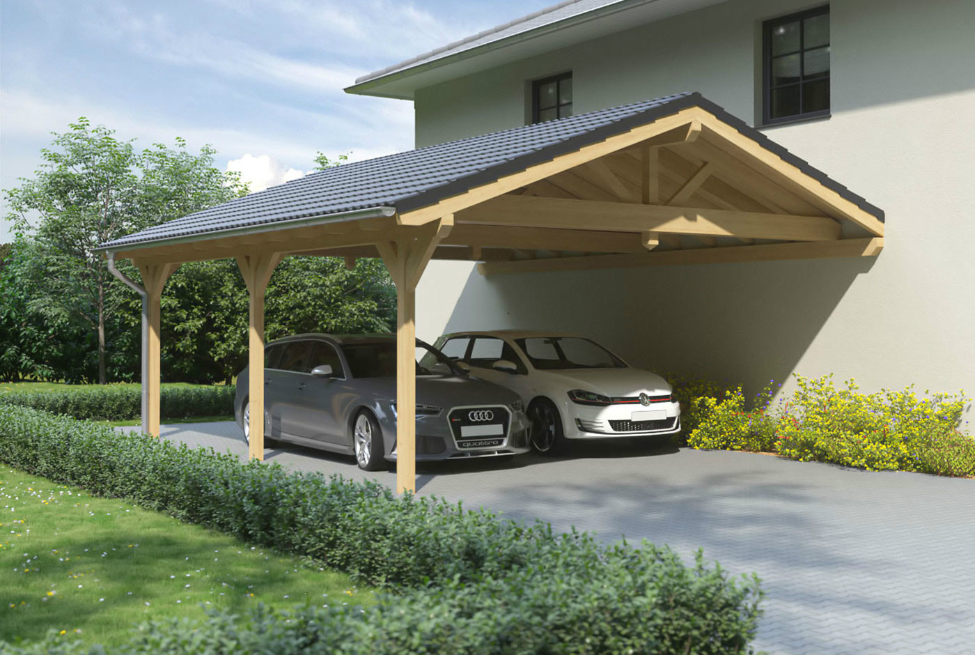 carport satteldach leimholz holz 6x7 m 600x700 cm steda ebay. Black Bedroom Furniture Sets. Home Design Ideas