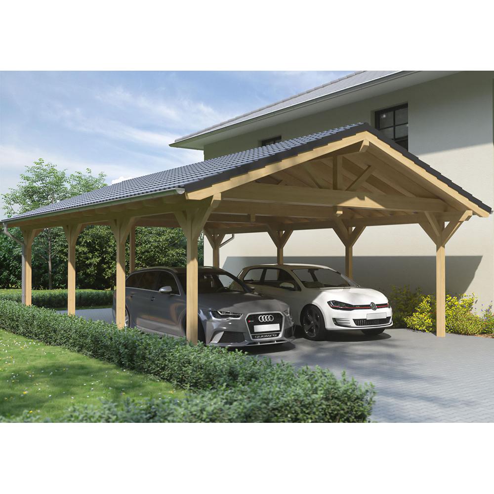 Carport Wandanbau: Carport Satteldach. Carports Hartmann Holzbau Hessen