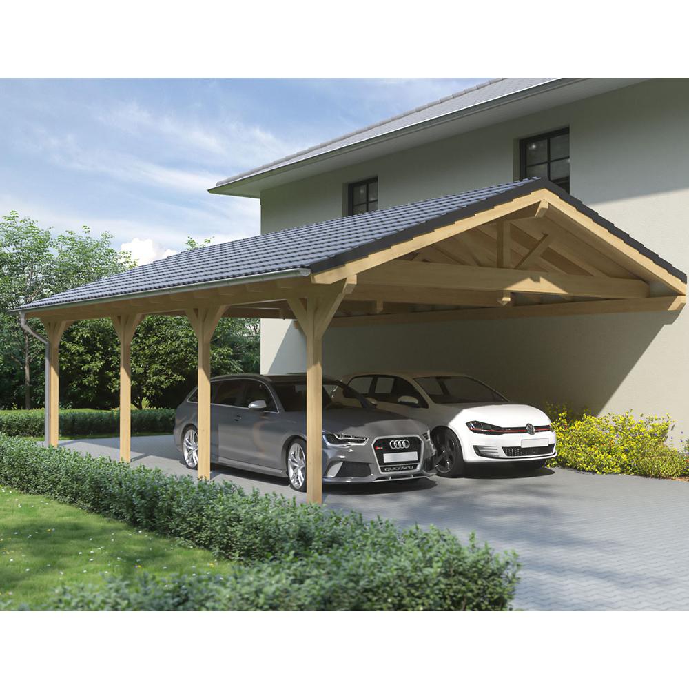 Carport Wandanbau: Carport, Satteldach, Leimholz, Holz, 6x10 M, 600x1000 Cm