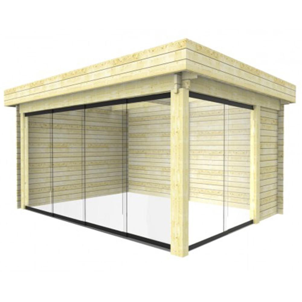 gartenhaus unterstand darmstadt glasschiebew nde 4 48x3 4 m holz steda ebay. Black Bedroom Furniture Sets. Home Design Ideas