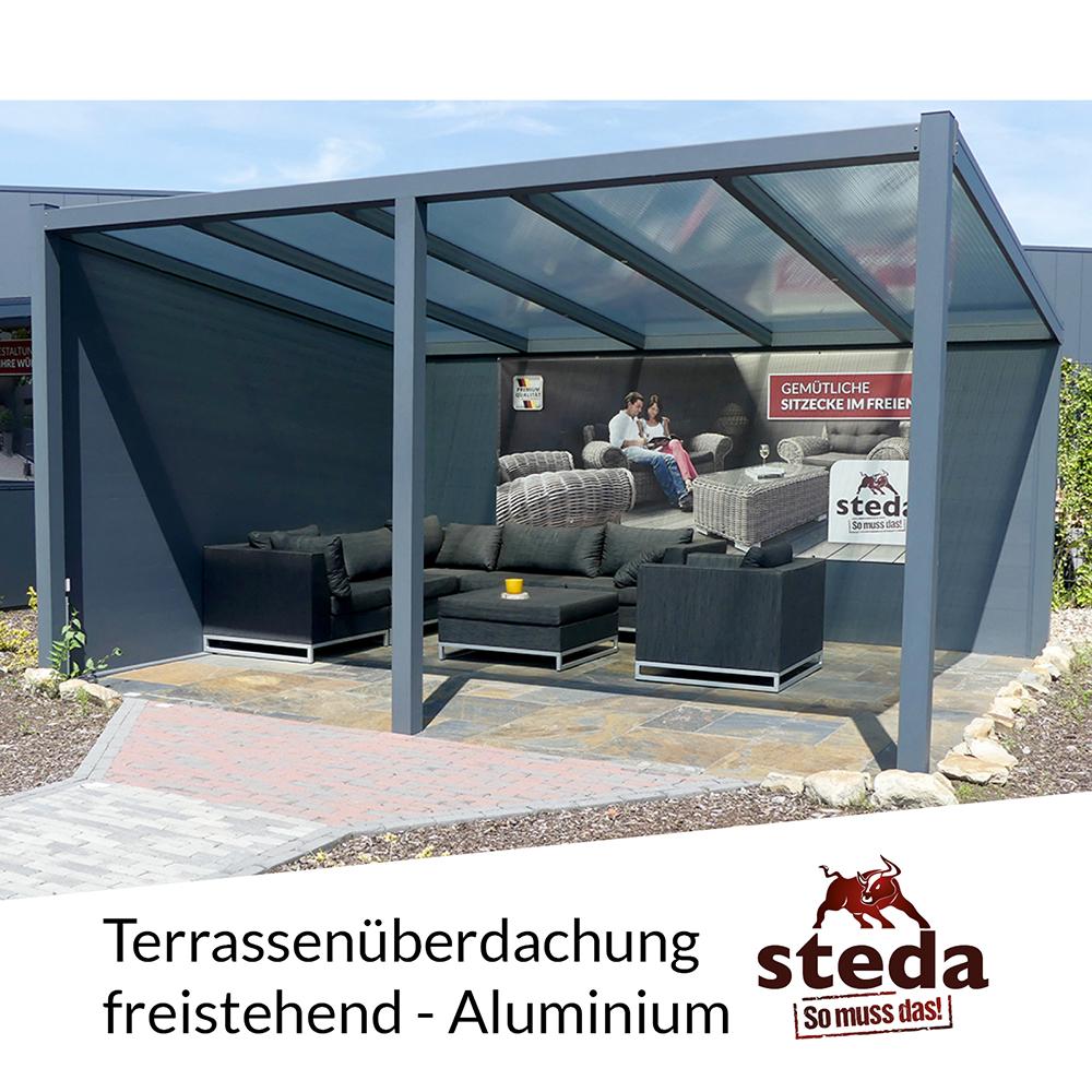 terrassen berdachung aluminium 3x3 m 300x300 cm. Black Bedroom Furniture Sets. Home Design Ideas