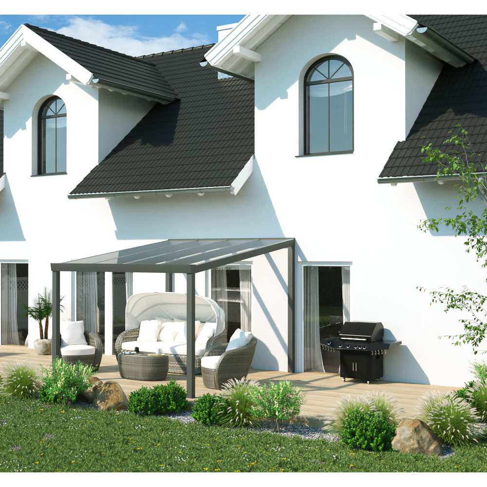 terrassen berdachung aluminium 3x3 m 300x300 cm freistehend steda ebay. Black Bedroom Furniture Sets. Home Design Ideas