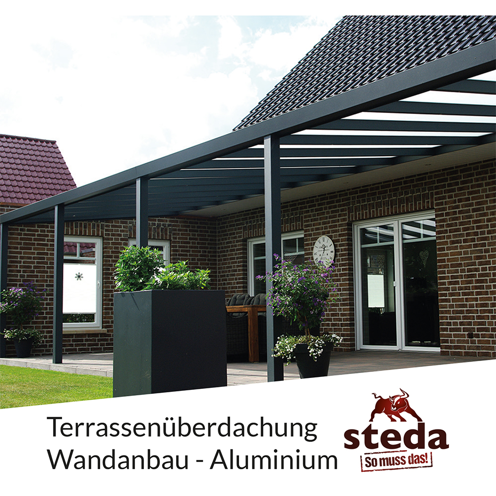 terrassen berdachung alu 6x4 m 600x400 cm doppelsteg wandanbau steda ebay. Black Bedroom Furniture Sets. Home Design Ideas
