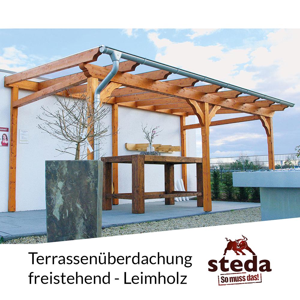 terrassen berdachung holz leimholz 6x4 m 600x400 cm freistehend steda ebay. Black Bedroom Furniture Sets. Home Design Ideas